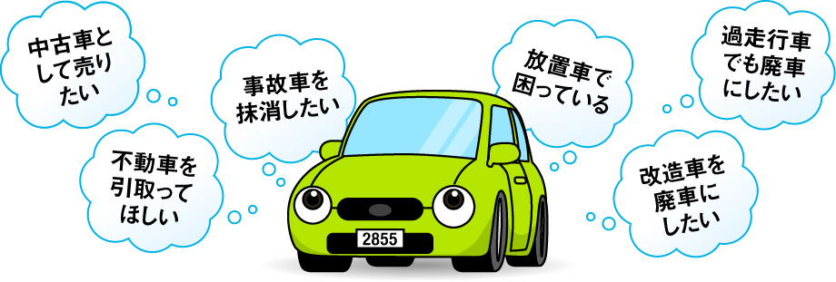 廃車にしたい。事故車を抹消したい。不動車を引取ってほしい。放置車で困っている。過走行車でも廃車にしたい。改造車を廃車にしたい。